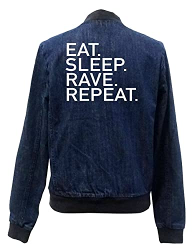 Eat Sleep Rave Repeat Bomber Chaqueta Girls Jeans Certified Freak