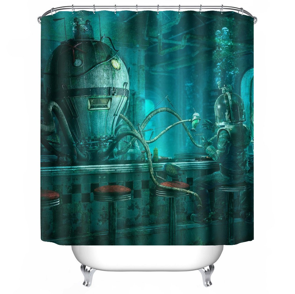 POPS AMERICA Mildew Resistant White bath curtains 66'' X 72'' Steampunk Octopus Video Game Art Nautical Shower Curtain Liner Waterproof Polyester Fabric Bathroom Decor Set With 12 Hooks by POPS AMERICA