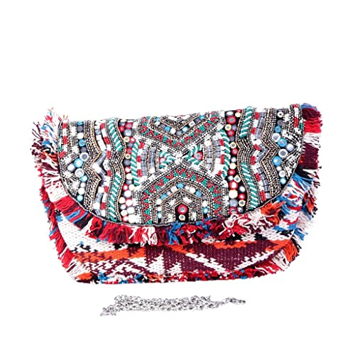 Angkorly - Bolsa de mano Envelope Clutches bandolera Mini crossbody Tote bag bordados Perla Fleco Bohemia hecho a mano made in India por cada día - idea de ...