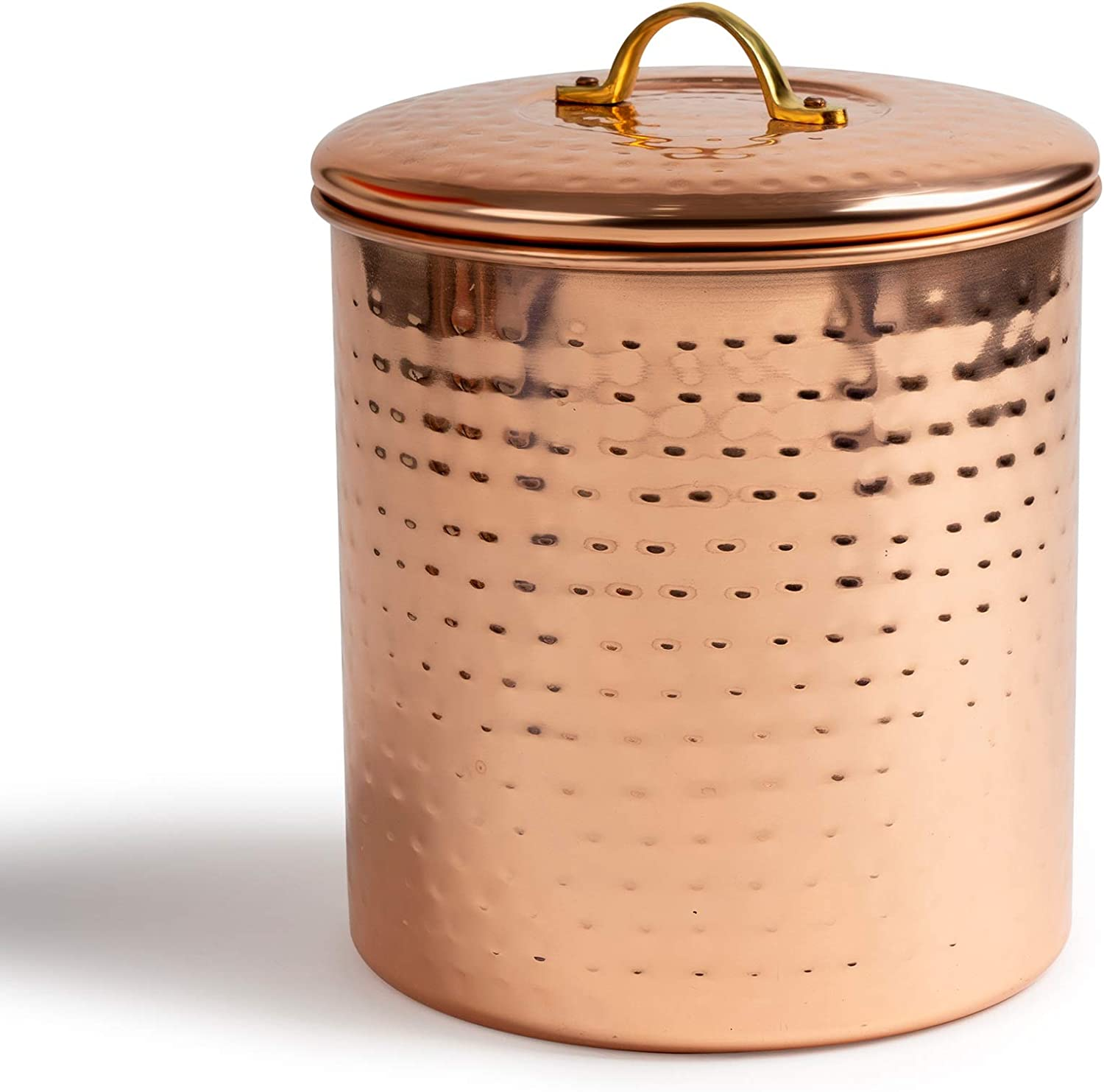 NuSteel Hammered 1.5 QT Stainless Steel, Beautiful Food Storage Container for Kitchen Counter, Tea, Sugar, Coffee, Caddy, Flour Canister with Rubber Seal lid, Copper Plated