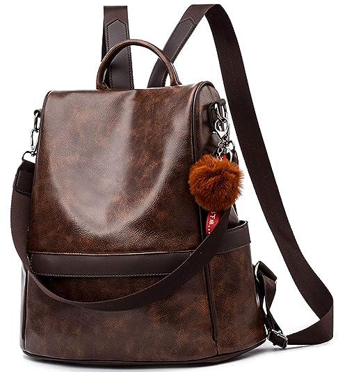 Anti-robo Mujer Mochila de Cuero de pu mochila de Bolsa de mano Mochilas Casual Bolsa de viaje Messenger Bag Backpack: Amazon.es: Zapatos y complementos