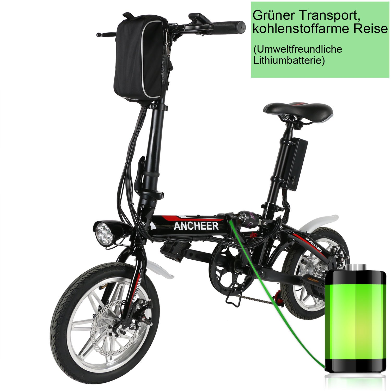 ancheer 14 inch eléctrico - Bicicleta plegable (E-Bike con batería de litio Cargador (36 V, 8 Ah), negro: Amazon.es: Deportes y aire libre