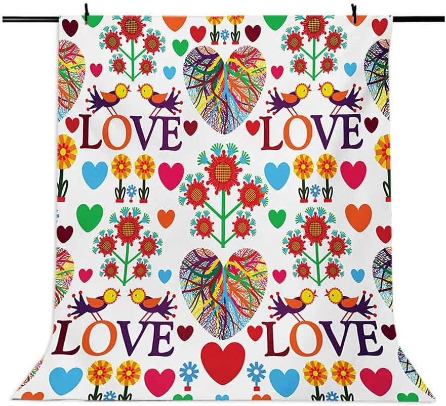 Love 6.5x10 FT Backdrop Photographers,Colorful Blooms Romantic Pattern Birds Hearts Valentines Ornate Design Traditional Art Background for Baby Shower Bridal Wedding Studio Photography Pictures