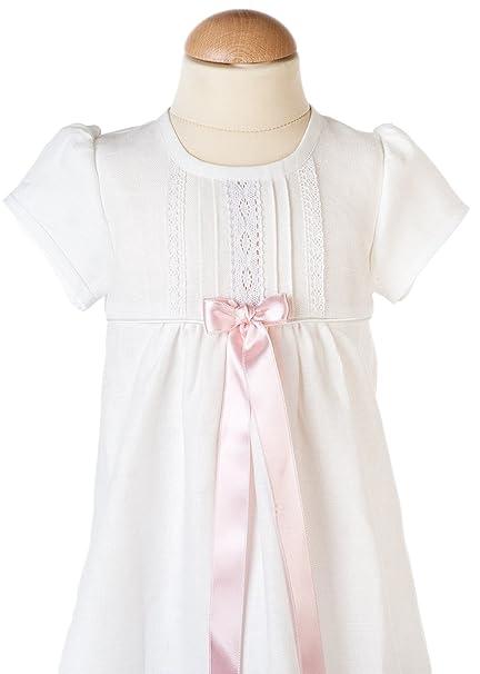 Bautizo Vestidos de novia en color blanco lino con manga corta y lazo azul de Grace