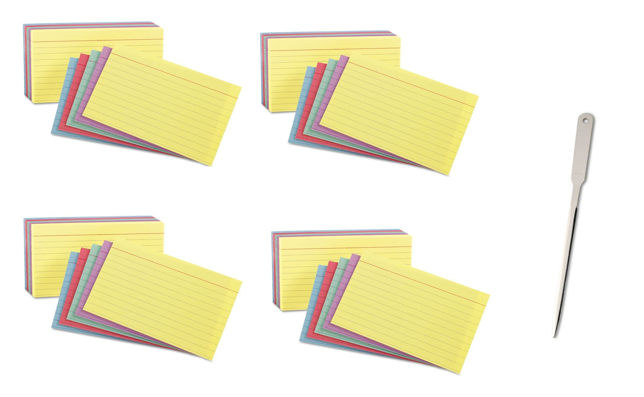 Oxford Oxford 40280 Rainbow Pack Index Card, 3 x 5, Ruled, 4 Pack of 100 Cards, 400 Cards Total - Bundle Includes a Letter Opener