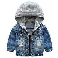 KISBINI Boys Chaqueta Windproof Hooded Zip Jacket Outdoor Coat for Children