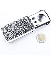 Snowmanna-30X/60X/90X LED Lighted Slide out Pocket Magnifying Glass High Magnification with LED and UV Lights Portable Loupe Magnifier Loop Currency Detecting Jewelry Magnifier (silver)
