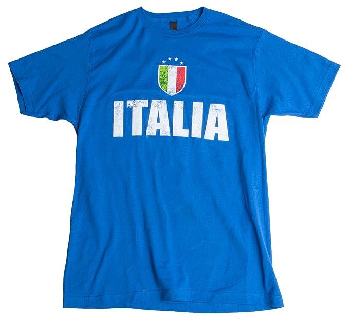 Hombres Italia Italy Azzurri Futbol Vintage-Look T