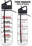 Fight Like a Girl Motivational Brave Because I've Faced Darkness Slimkim II Water Sports Bottle | Time Marker with Measurement Goals and Inspirational Quotes 30 Oz (4 Color Choices)