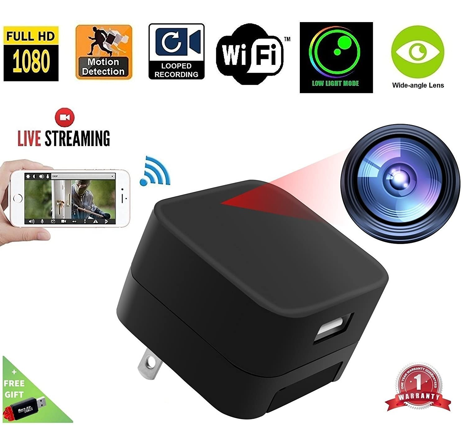 1080P USB Charger Camera WiFi - DENT Products HD Live Streaming Video Camcorder with Motion Detection, Pet Nanny Cam, USB AC Wall Plug Adapter for phone, Remote View, support 128GB SD (4th GENERATION)