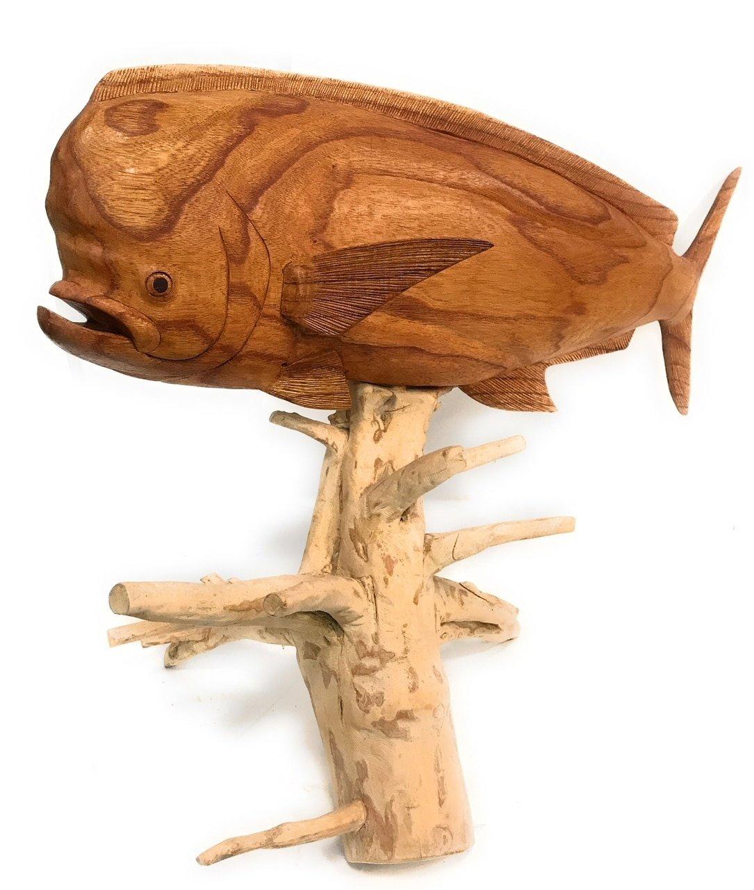 Mahi Mahi Hand Carved 32'' w/ Drift Wood Base   #ton02