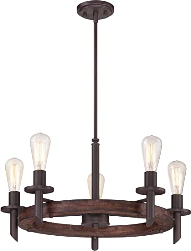 Quoizel TVN5005DK Tavern Vintage Chandelier, 5-Light, 500 Watts, Darkest Bronze 13 H x 26 Dia