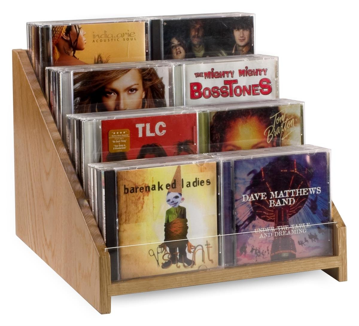 Wood CD/DVD Rack for Tabletop Use, Holds 40 CDs or 24 DVDs, Tiered Design