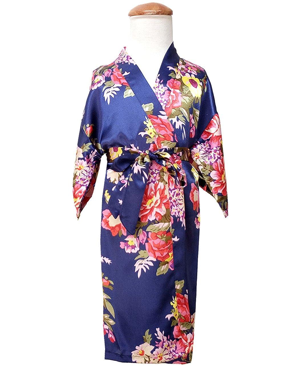 Opkelana Girls Lovely Satin Kimono Robe Floral Print Bathrobe Nightwear