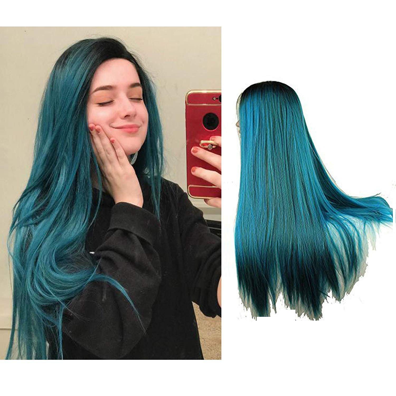 Eseewigs lungo Blue Ombre parrucca Two Tone merletto della parte anteriore di calore parrucca resistente per le donne 24inch Qingdao Esee Hair Co. Ltd