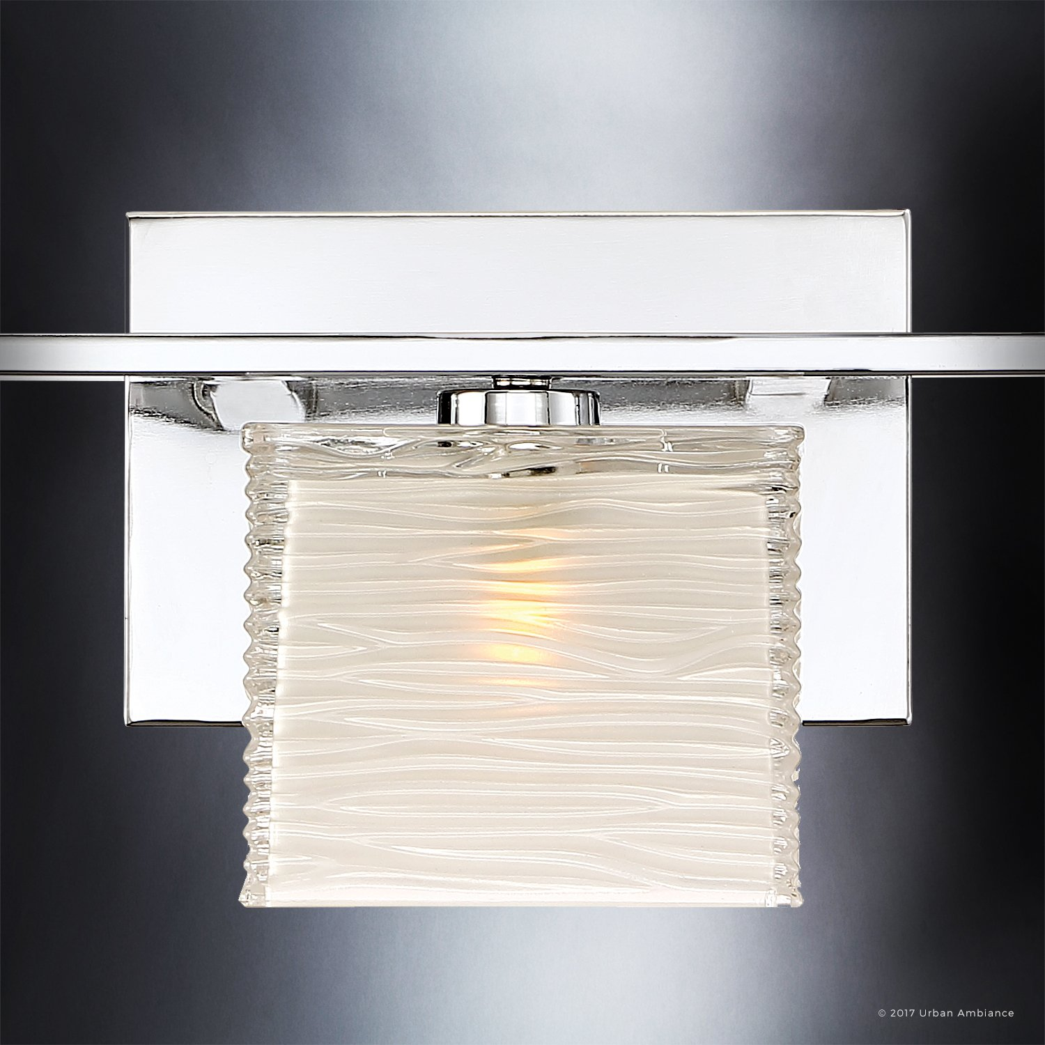 Luxury Modern Bathroom Light, Medium Size: 6.75''H x 22.5''W, with Style Elements, Polished Chrome Finish and Sandblasted Inner, Clear Wavy Outer Glass, G9 LED Technology, UQL2723 by Urban Ambiance by Urban Ambiance (Image #6)