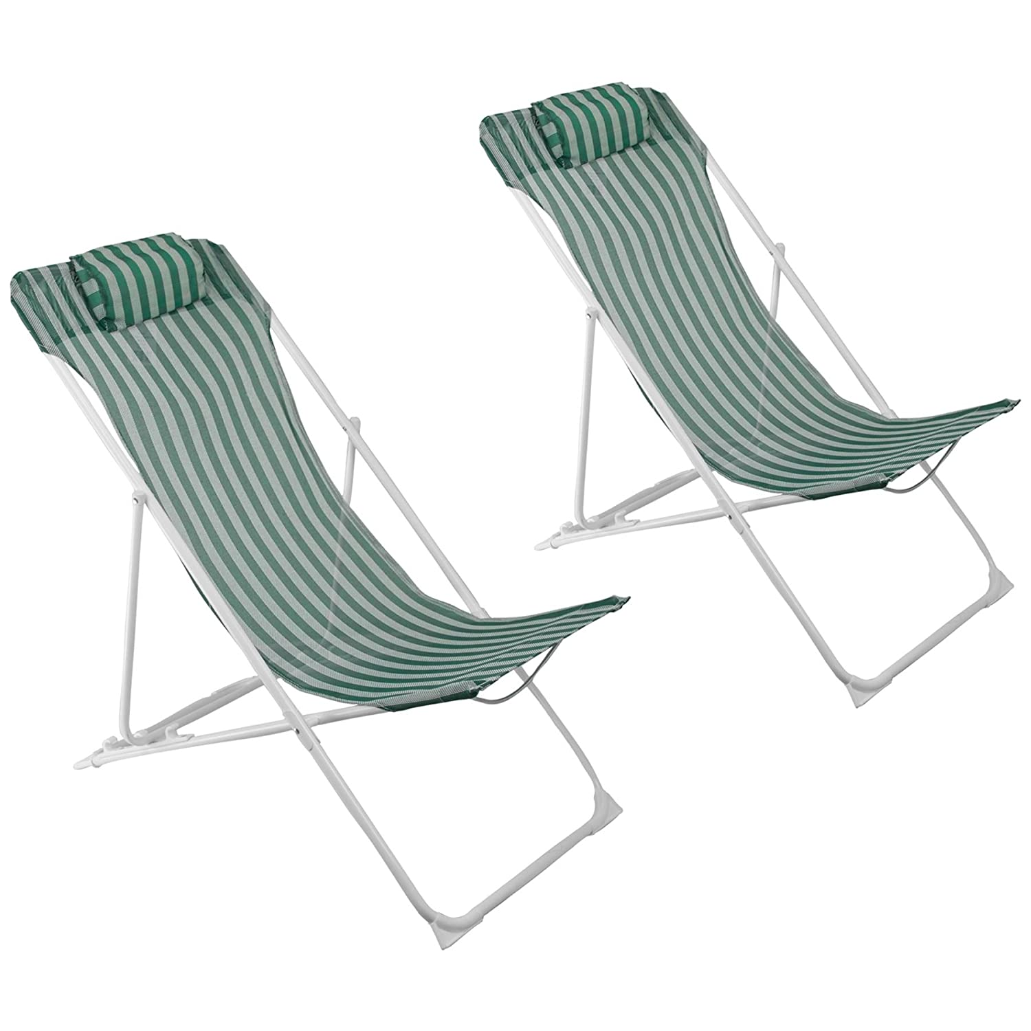 Harbour Housewares Metal Garden Deck Chair - 3 Positions - Green / White Stripe - Pack Of 2
