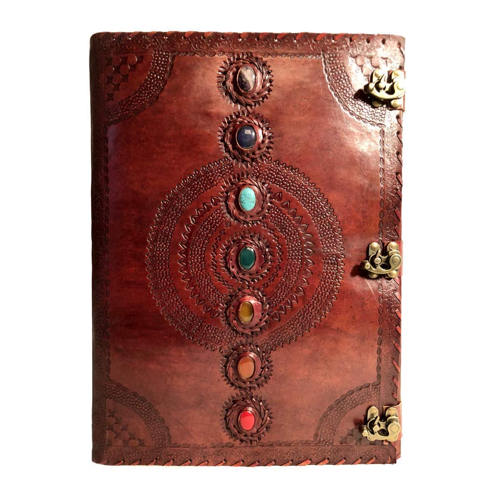 Seven Chakra Medieval Stone Embossed Handmade Leather Journal Book of Shadows Notebook Office Diary College Book Poetry Book Sketch Book 14 x 22 Inches by Stellar Styles
