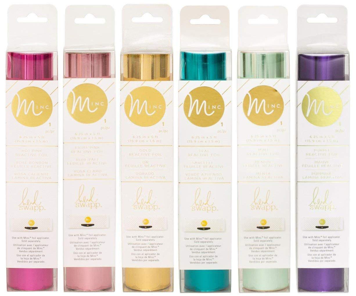 Heidi Swapp Minc Reactive Foil - Six 6.25'' x 5' Rolls - Hot Pink, Light Pink, Mint, Teal, Gold, Purple