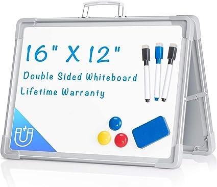 "White Board for Desk 12""X16"", ARCOBIS Small Magnetic Portable Dry Erase Board"