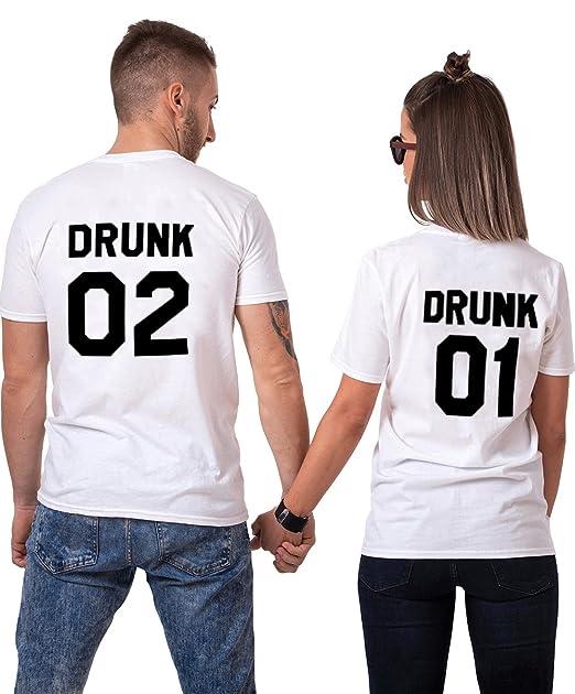 Pareja camiseta T-Shirt de Manga Corta 100% Algodón Impresión Drunk 2 Piezas Tops