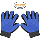 Pet Grooming Glove - Massage Magic Hair Remover - Perfect for Dogs and Cats with Long and Short Fur Single Hand