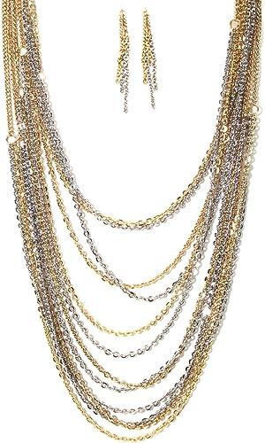 Estado de cuenta larga de las Señoras Cadena Collar Babero Collar de plata con borlas Disfraz Jewelley