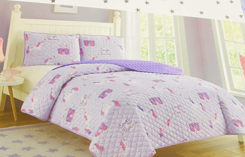 Cloud 9 Purple/Pink/Gold Unicorn Sparkles 2-PC Twin Quilt Set, 100% Polyester, Levander