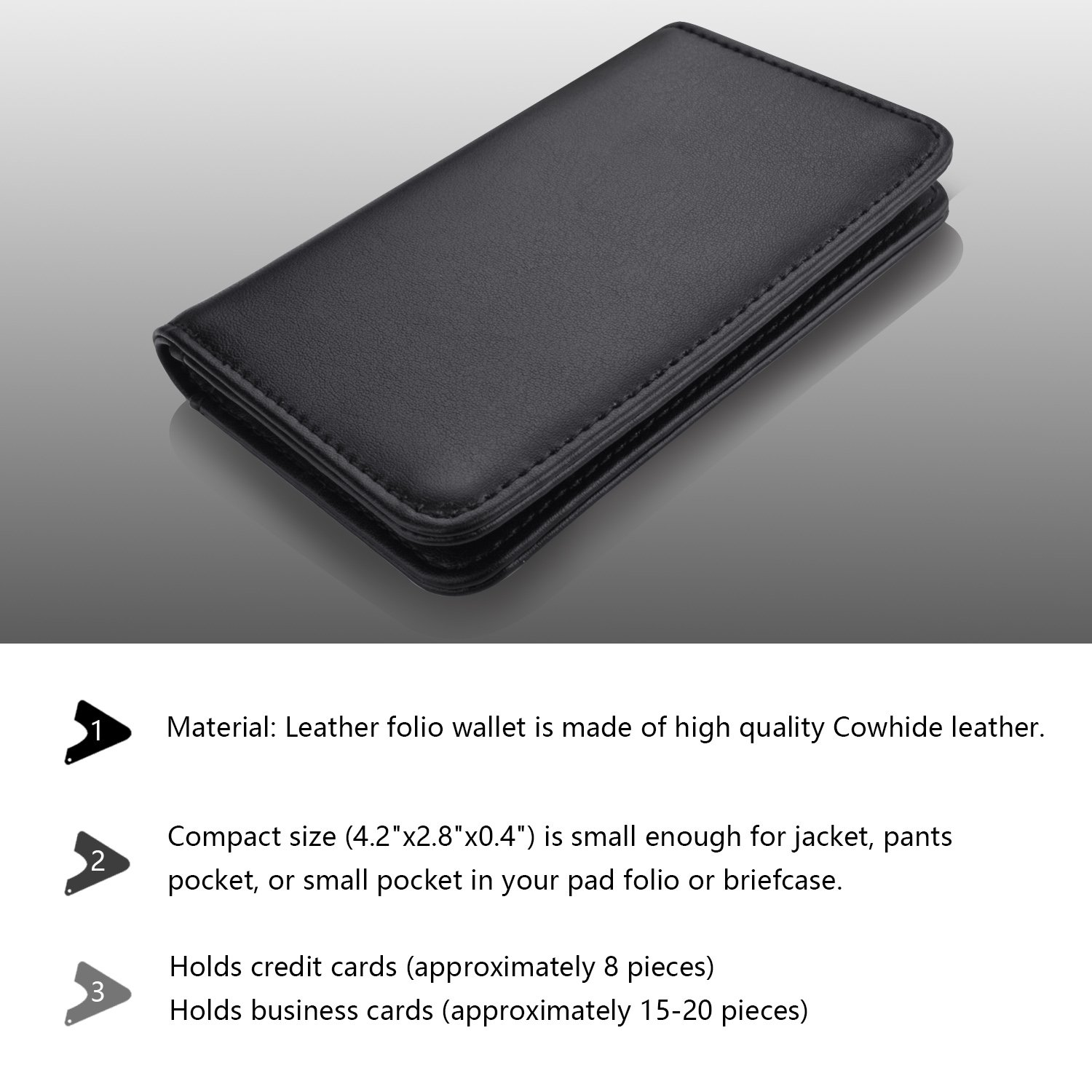 Amazon.com : MaxGear Genuine Leather Business Card Holder 2-Sided ...