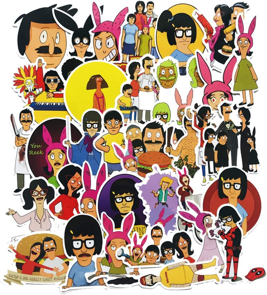 34Pcs Cartoon Bob's Burgers Waterproof Stickers for Laptops Books Cars Motorcycles Skateboards Bicycles Suitcases Skis Luggage Hydro Flasks etc BWJ