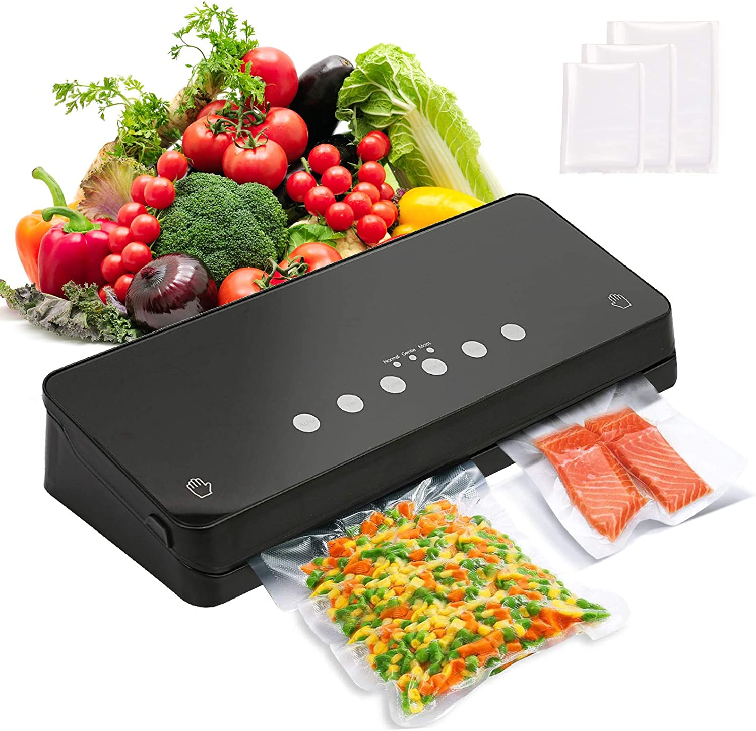 Vacuum Sealer Machine, Automatic Vacuum Air Sealing System for Food Savers w/Starter Kit, Food Sealer with Normal Gentle & Moist Food Modes, 30 Vacuum Bags, Led Indicator Light, Compact Design