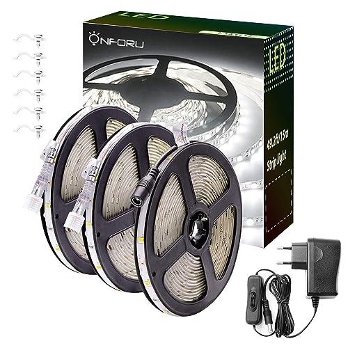 Onforu Kit de 15M Ruban LED Blanc Froid, Bande LED Extérieur 12V, IP65 Etanche, 450 LEDs, 6000K Bandeau LED Autocollant, Éclairage Indirect pour Escalier, Vitrine, Dressing, Placard, Présentoir