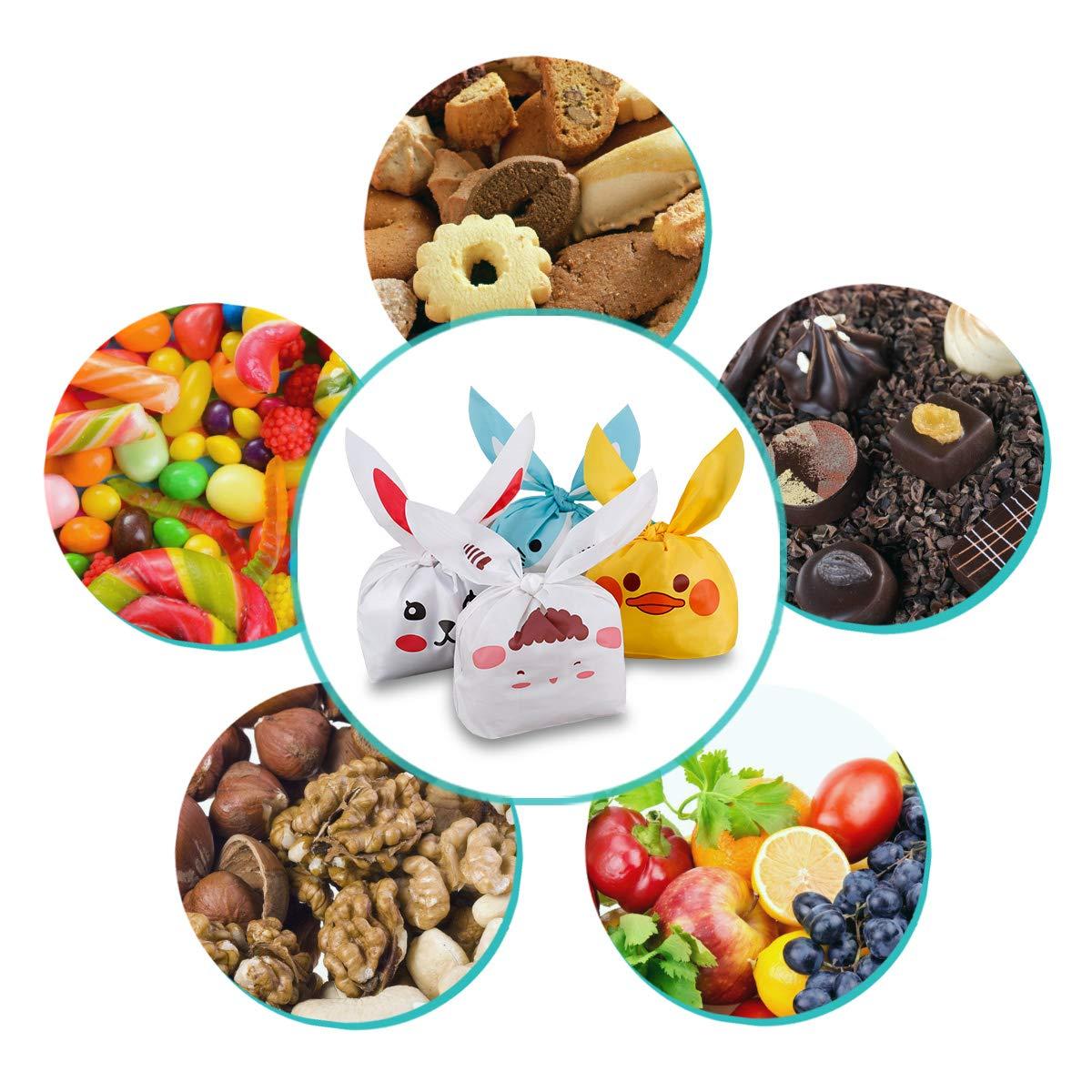Sachet Bonbons,60pcs Motif Sac Pochette Sachet Bonbons Anniversaire,Mignons Oreilles de Lapin Sacs Forme Alimentaire Biscuits Bonbons Sachets