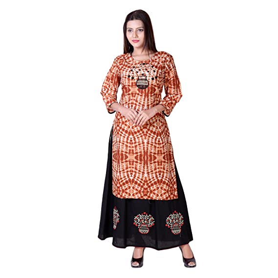 Vedika Overseas Embroidered Cotton Printed Brown Kurti 8080b7683