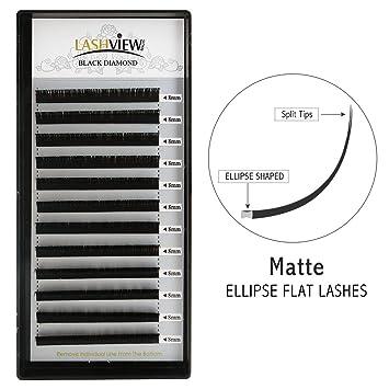 a2b5b7df462 Amazon.com : LASHVIEW SUPER MATTE Flat Mink Black Ellipse Eyelash  Extensions 0.15mm D Curl 8mm Semi-permanent Individual Extremely Soft  Application-friendly ...