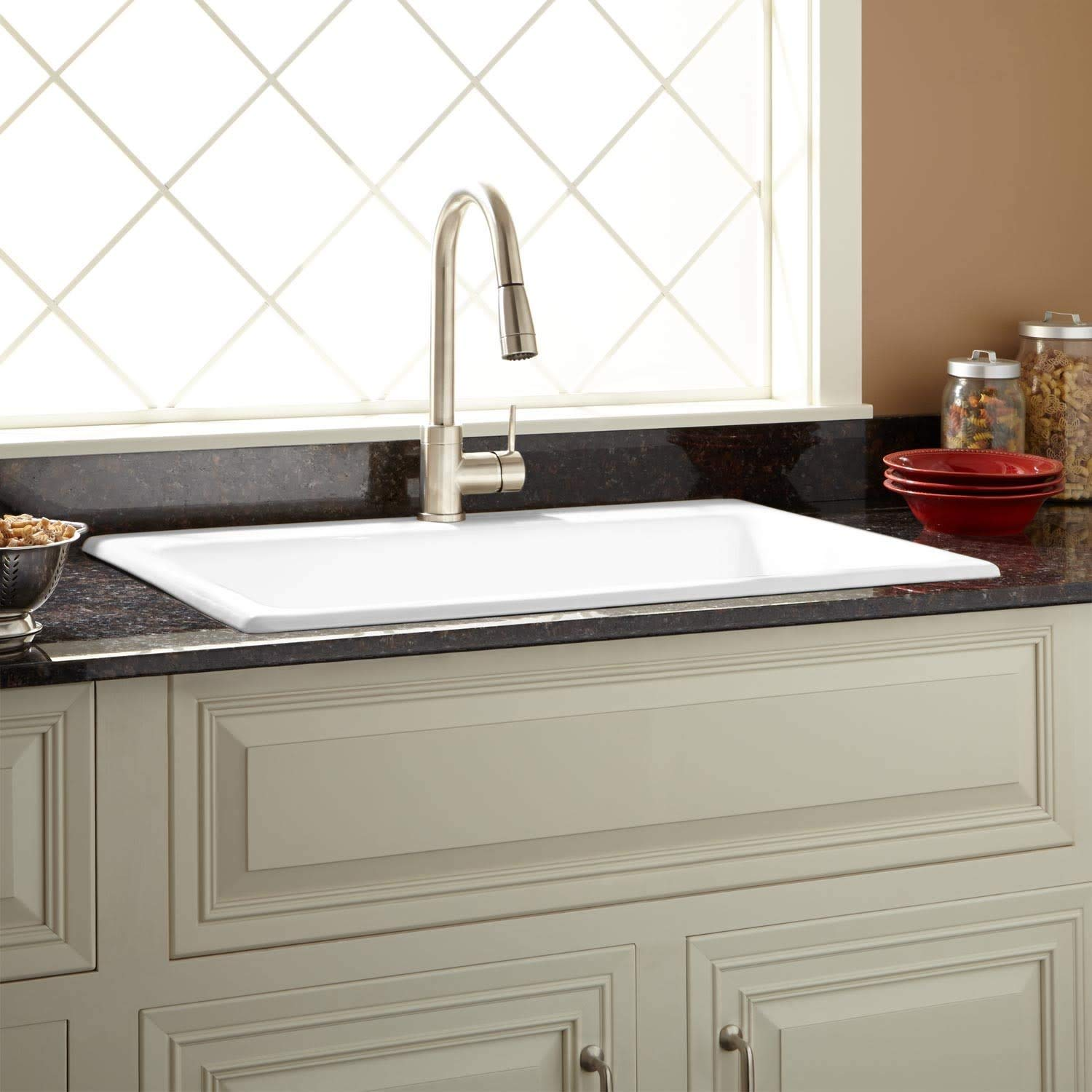 "Signature Hardware 406266 Palazzo 34"" Drop In Single Basin Cast Iron Kitchen Sink with 1 Faucet Hole"