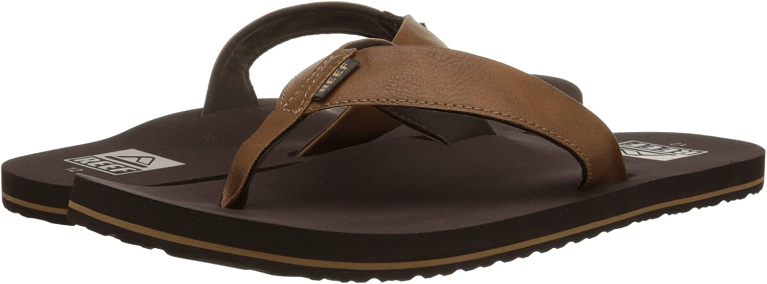Reef Men's Sandal Twinpin | Comfortable Men's Flip Flop With Vegan Leather Upper, Brown, 11: Shoes