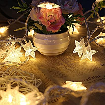 kobwa star string lights16ft 50 led diy fairy indooroutdoor christmas decorations glowing - Amazon Christmas Decorations Indoor
