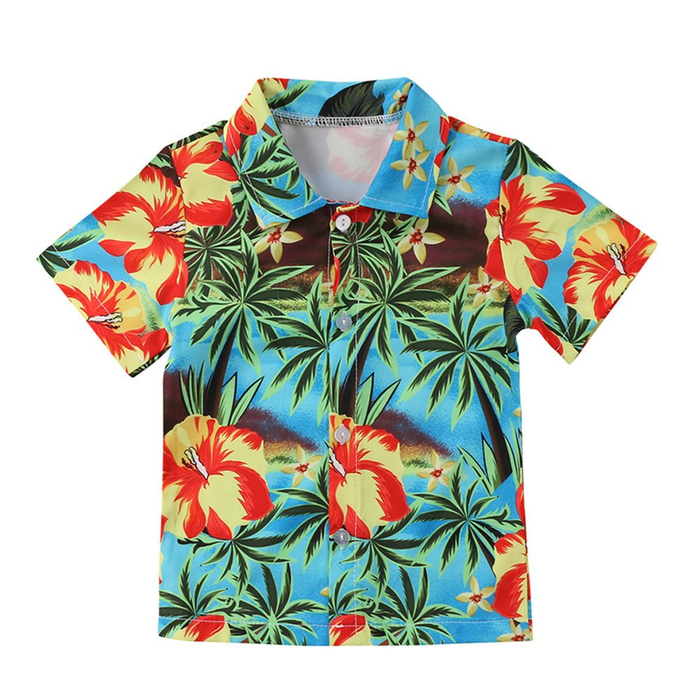 Jamlynbo Toddler Kids Boys Button Down Casual Short Sleeve Summer Printed Hawaiian Shirts