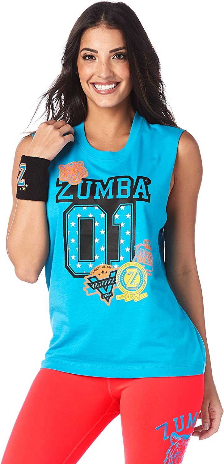 Zumba Womens Dance Fitness Workout Muscle Tank Breathable Active Gym Top