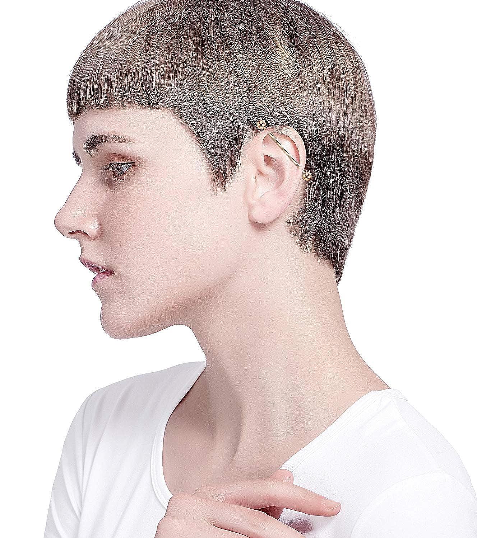 Subiceto 10Pcs Stainless Steel Industrial Barbell Cartilage Stud Earrings Hoop Women Men Nose Lip Piercing Rings Tragus Helix Ear Body Piercing Jewelry SO-P21-S