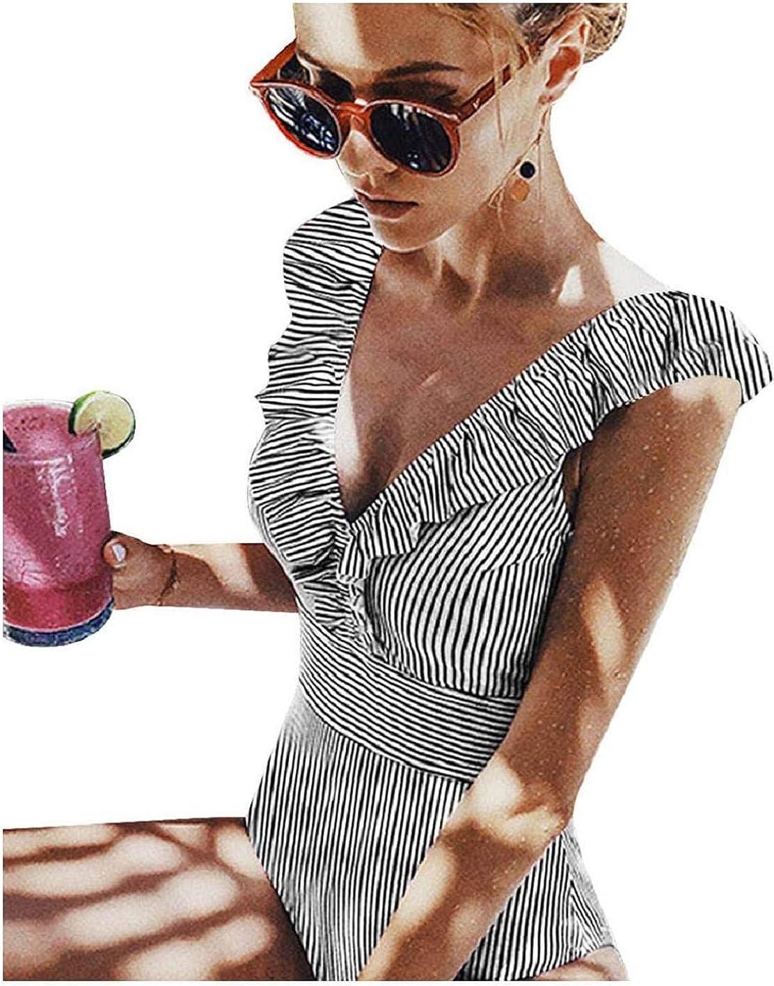 Einteilige Badeanzug Gestreift Damen Strand Bademode V-Ausschnitt figurschmeichelnder vollk/örper Gestreifter Badeanzug mit Blumenmuster Bikini Sets Push Up Damen Badebekleidung Halter Bademode