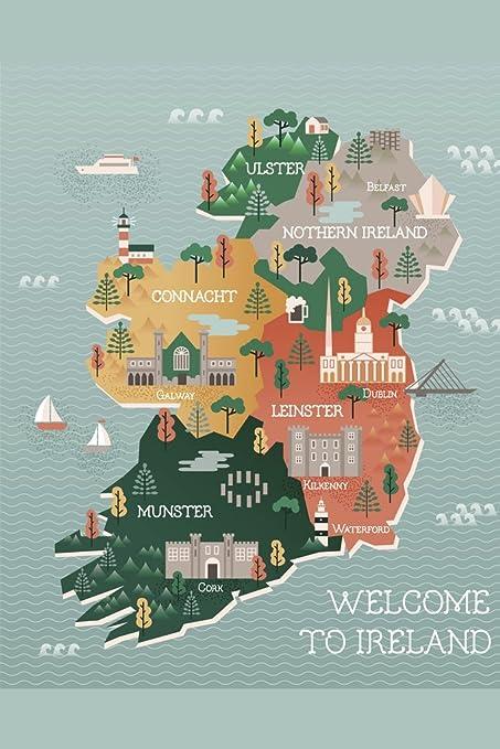 Ireland Map With Cities.Amazon Com Ireland Map Landmarks Cities Travel Illustration Poster