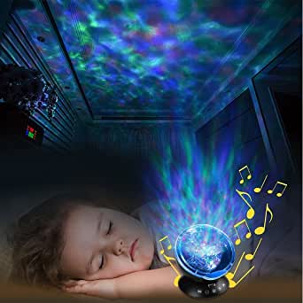 K KBAYBO Ocean Wave Projector 12 LED &7 Colors Night Light Projector with Built-in Mini Music Player Remote Control for Living Room,Bedroom,Children's Room (Black)