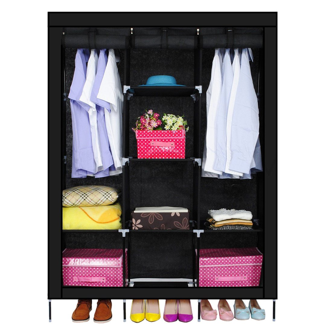 SODIAL(R) New Triple Nonwovens Wardrobe Home Bedroom Decor Clothes Clothing Storage Wardrobes(black) AEQW-WER-AW134660