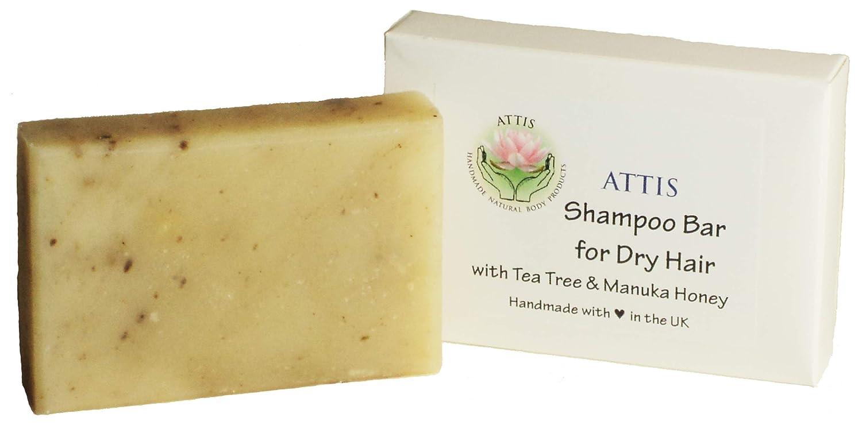 ATTIS Shampoo Bar for Dry Hair   Natural   Handmade   with Almond Oil   Tea Tree Essential Oil   Manuka Honey