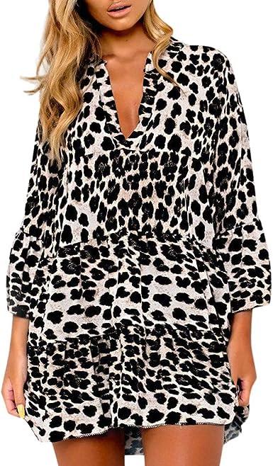 CLOOM Falda Leopardo Mujer Sexy Escote V Profundo Suelto Mini ...