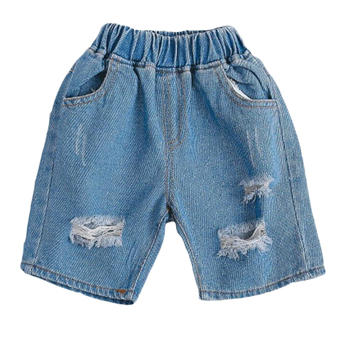 JSY Little Boys Faded Elastic Waist Holes Washed Denim Jeans Shorts