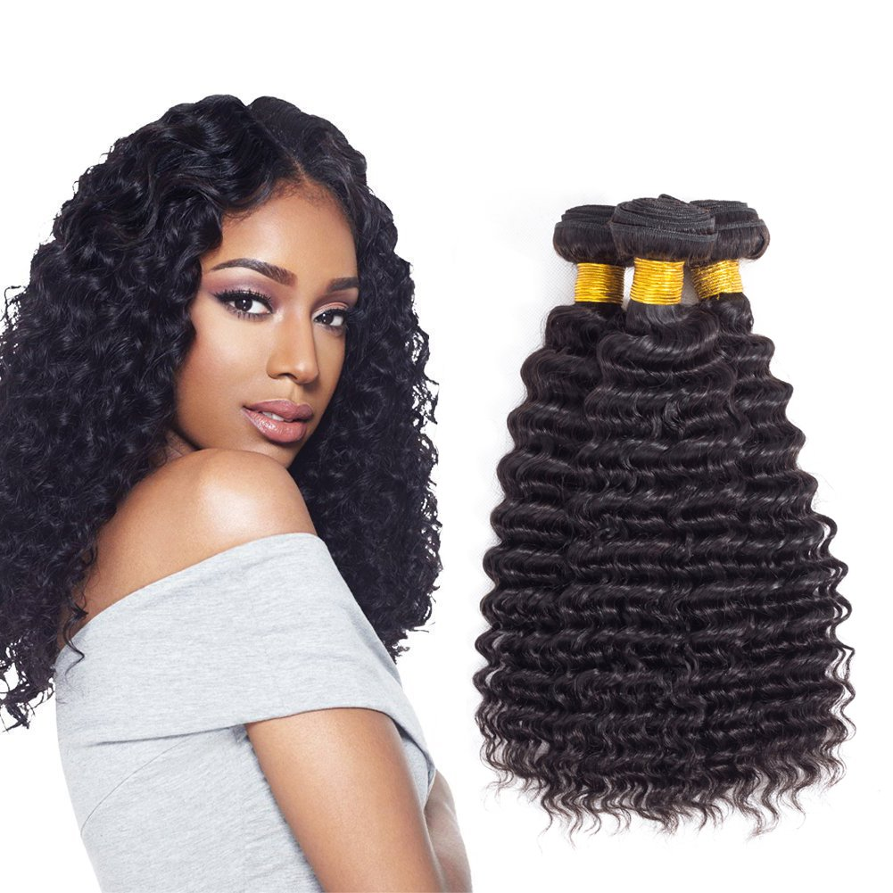 Amazon Brazilian Deep Wave Human Hair Bundles Brazilian