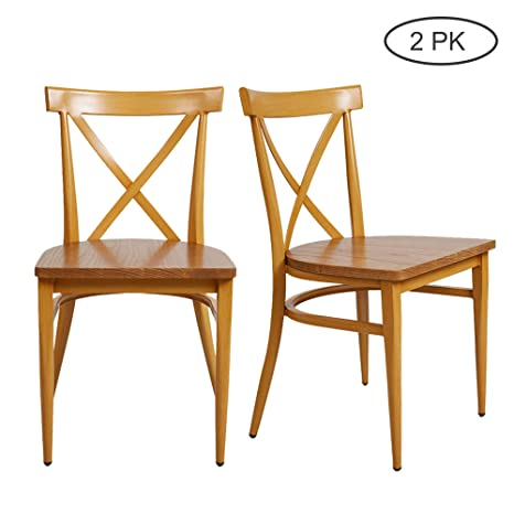 Metal Dining Kitchen Room Side Chairs Set of 2 Heavy Duty High Back Wood  Restaurant Chair with Metal Backrest Yellow